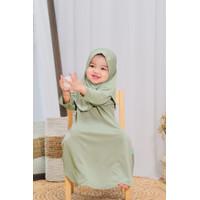 Baju Gamis Anak cewek Muslim Gamis set daily Nuha Soft Green L 3 tahun
