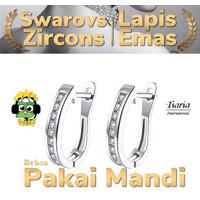 Anting titanium swiss lapis emas asli kristal swarovs AKE152-B--W41