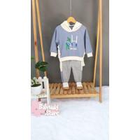 Import Anak 3D Dino Setelan - Motif - Hoodie Baju Score 369140-BLUE