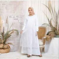 Brukat Gamis - Blue Putih Renda DENADA Dress Ocean Muslim Polos Baju