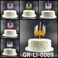 GR-LI-0069 Cake topper hiasan kue tempat lilin chandelier ulang tahun