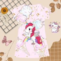 Perempuan Anak Motif Cream 1-13 Baju Kuda Pink Poni Tahun Umur Ice