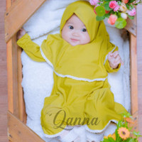 Setelan Baru Hijab Baju Newborn Perempuan KUNING Muslim Lahir Bayi Gam