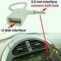 Aux Audio Plug Adapter 3.5mm ke USB 2.0 Female/Kabel Aux Pemutar Lagu