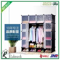FUJIAN Magic Wardrobe Lemari Baju Pakaian Plastik DIY 16 Pintu