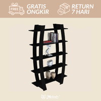 Furniture Rak Buku divider unik SHELF 15 black