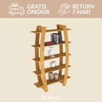 Furniture Rak Buku divider unik SHELF 15 Rustic oak