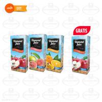 Diamond Juice UHT 1L Guava, Orange, Apple, Free Apple 1L @ 1 PC