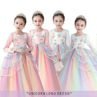 NS dress Unicorn lengan panjang baju pesta ulang tahun anak perempuan