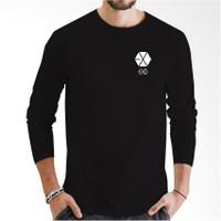 T-Shirt Pria Baju Kaos Lengan Panjang Kaos Distro EXO Logo Little Whit