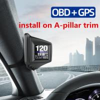 HUD GADGET OBD2 GPS HUD On-Board Komputer A-Pilar Trim Instal RPM