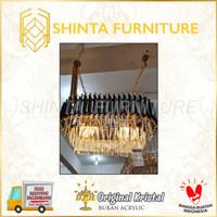 Lampu Hias Gantung Kristal Panjang LED Gold Mewah Modern Lobby Hotel
