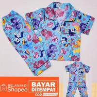 piyama motif tidur kuda 1-7th anak baju poni