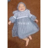 perempuan muslim baju aqiqah tulle tile gaun brokat brukat bayi hijab