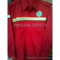 Baju safety merah seragam proyek lapangan scotlight fosfor reflektor