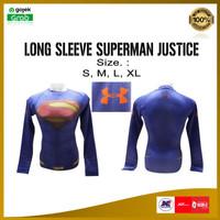 Baju Manset Training Gym Fitness Lengan Panjang Superman Justice Murah