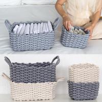 Hemp Rope Braided Clothes Storage Basket Handmade Laundry Baby Toy