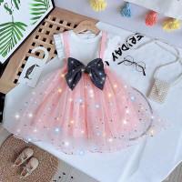 Gadis net merah jas 2020 gaun musim panas baru baju bayi asing rok