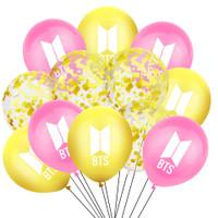 15pcs Balon Sequin Desain Kpop Bt21 Bts Bangtan Boys Untuk Dekorasi