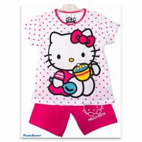 Setelan Anak Perempuan Kitty Cup Polkadot Putih 1-10 Tahun