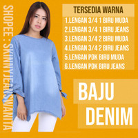 [BIG SIZE] Blouse Denim Baju Denim Wanita Cewek Jeans Denim Biru