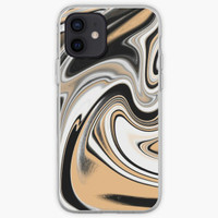 Casing HP iphone 12 11 Xs Pro Marble x Black & Gold Max 8 Plus case