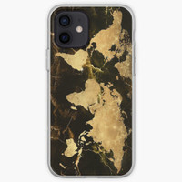 world map gold 7 Casing iphone XS MAX 12 11 8 Plus Pro case