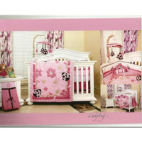 Bed set bayi baby lengkap dengan bumper warna merah muda pitygi 7687yx