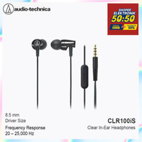 Audio-Technica ATH-CLR100is BK In-Ear Headphone with Mic - Hitam