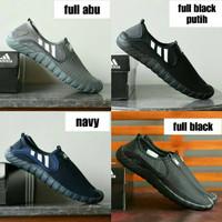 On Full Tanpa Jawpaw Tali Putih Slop Adidas Grade Black Hitam Sepatu O