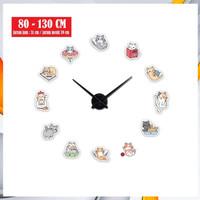 Jam dinding besar DIY Kucing lucu - Hello Kitty- Kayu - Mesin sweep/