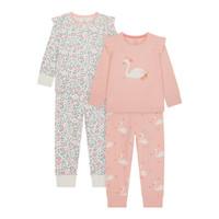 Mothercare Swan Frill Pyjamas 2 Pcs - Baju Tidur Anak Perempuan (Pink)