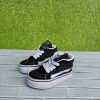 sepatu Anak laki 1-3 tahun Vans SK8 Black white Tali size : 20-27