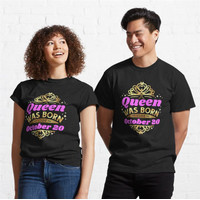 Kaos A Queen Was Born On October 20 Birthday 622 Unisex T-Shirt