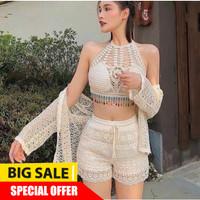 ZF638 Murah Boho Crochet Set Outer dapat 3pcs Bikini Baju Renang Wanit