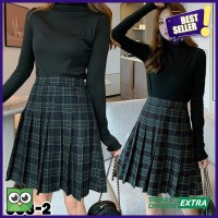 Asli Tartan Tennis Midi Rok Midi Pleated Tartan Skirt Korean 888 Skirt
