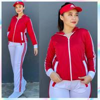 Setelan Baju Senam Aerobic Lapangan Training Merah Putih Zumba Hijab