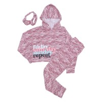 Justice Girls 3 Piece Weekend Sleepwear Burgundy - Baju Tidur Anak