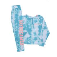 Justice Girls 2 Piece Henley Tie Dye Sleepwear Blue - Baju Tidur Anak