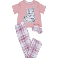 Justice Girls 3 Piece Tartan Cat Sleepwear Rose - Baju Tidur Anak