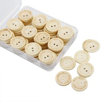 BAYU 80Pcs Buttons Set 25mm Round Two Holes DIY Button Clothes