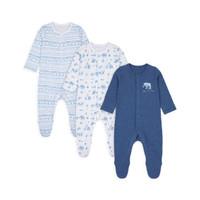 Mothercare safari sleepsuits 3 pack - Set Baju Tidur Bayi (Biru)