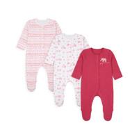 Mothercare safari friends sleepsuits 3 pack-Set Baju Tidur Bayi (Pink)