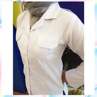 Bagus Baju Kemeja Putih PNS Wanita Panjang Blus ASN PEMDA PDH
