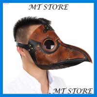 Topeng Burung Plague Doctor Bahan Kulit Imitasi untuk Cosplay Hallowee