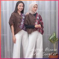 Blus Crop Top Lurik Songket Tenun Atasan Batik Blouse Wanita Modern