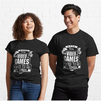 Kaos Funny Born to Play Video Games Forced to Go to Sch 868 T-Shirt