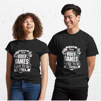 Kaos Funny Born to Play Video Games Forced to Go to Sch 866 T-Shirt
