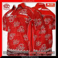 Baju Kemeja Seragam Batik Honda Satu Hati Merah Pria