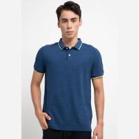 Giordano Solid Cvc Polo Shirt Pria Melange Dark Baleine Blue
